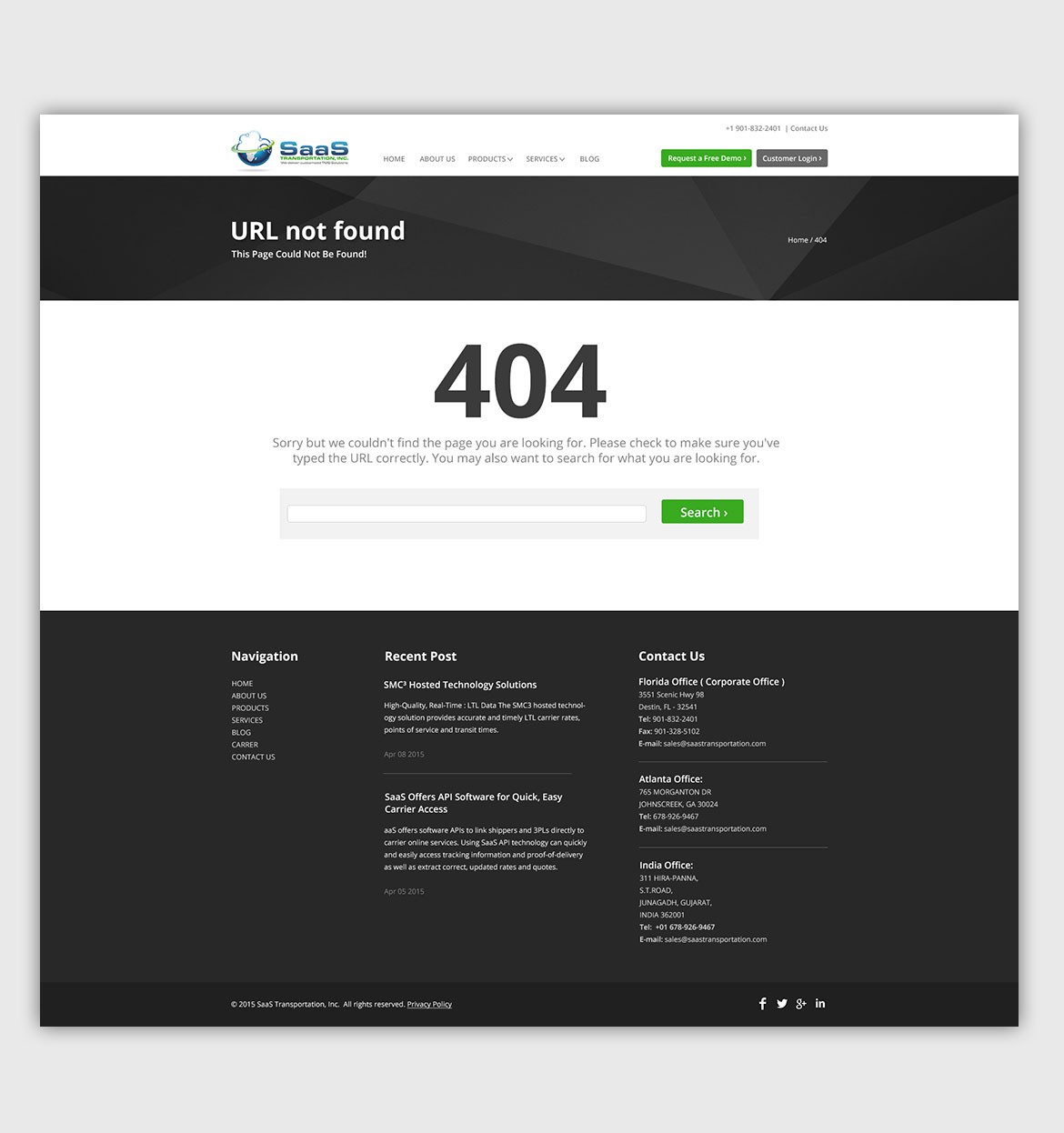 Website Design Development for Product Based Company USA 404 page